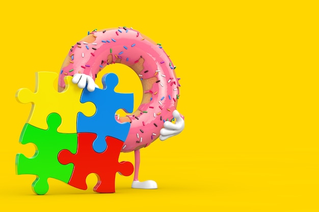 Große erdbeerrosa glasierte donut-person-charakter-maskottchen mit vier stücken buntem puzzle auf gelbem hintergrund. 3d-rendering