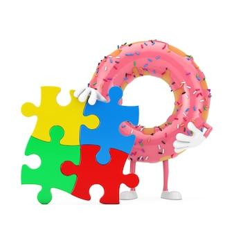 Große erdbeerrosa glasierte donut-person-charakter-maskottchen mit vier stücken bunten puzzles auf weißem hintergrund. 3d-rendering