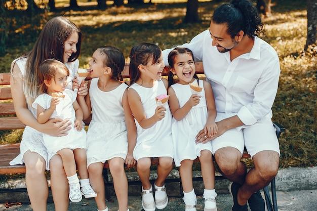 Große familie, die in einem sommerpark spielt
