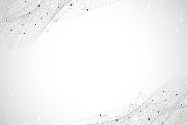 Große genomische datenvisualisierung. dna-helix, dna-strang, dna-test. molekül oder atom, neuronen. abstrakte struktur für wissenschaft oder medizinischen hintergrund, banner, illustration.