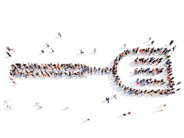 Große gruppe von menschen in form einer kochklinge isolierter weißer hintergrund