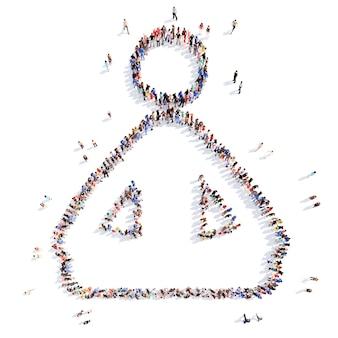 Große gruppe von menschen in form einer person, die meditiert. isoliert
