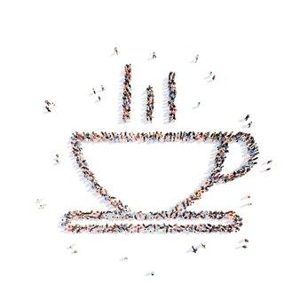 Große gruppe von menschen in form einer tasse kaffee isolierter weißer hintergrund