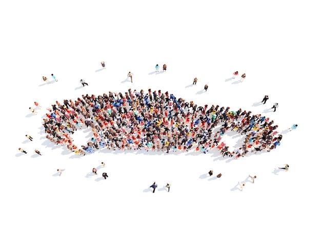 Große gruppe von menschen in form eines autos. isolierter weißer hintergrund.