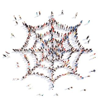 Große gruppe von menschen in form eines isolierten weißen hintergrunds des netzes