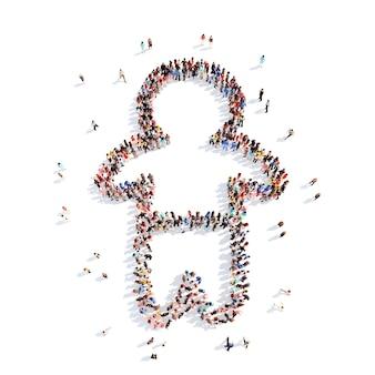 Große gruppe von menschen in form eines kindes. isolierter weißer hintergrund.