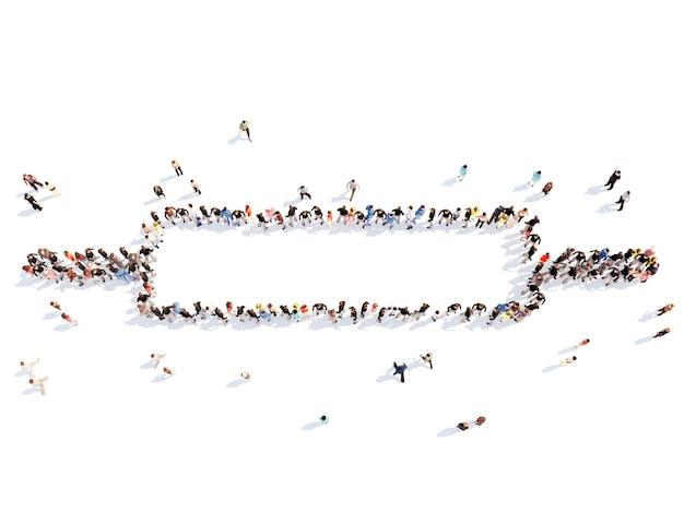 Große gruppe von menschen in form eines nudelholzes isolierter weißer hintergrund