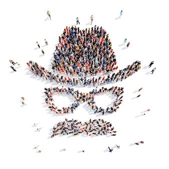 Große gruppe von menschen in form von hüten brille und schnurrbart isolierter weißer hintergrund