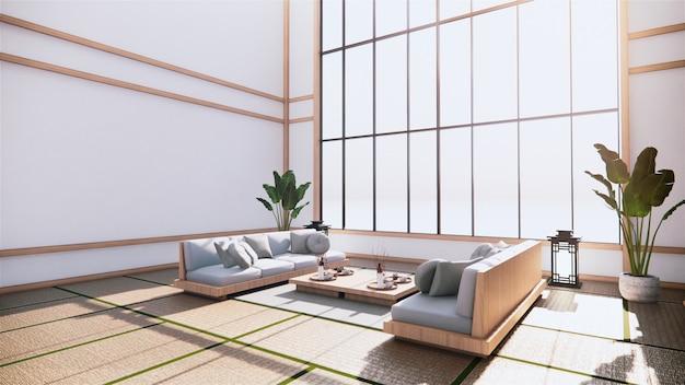 Große halle innenarchitektur, großes zimmer im japanischen stil mit sessel auf tatami-matte boden und holz design wand. 3d-rendering