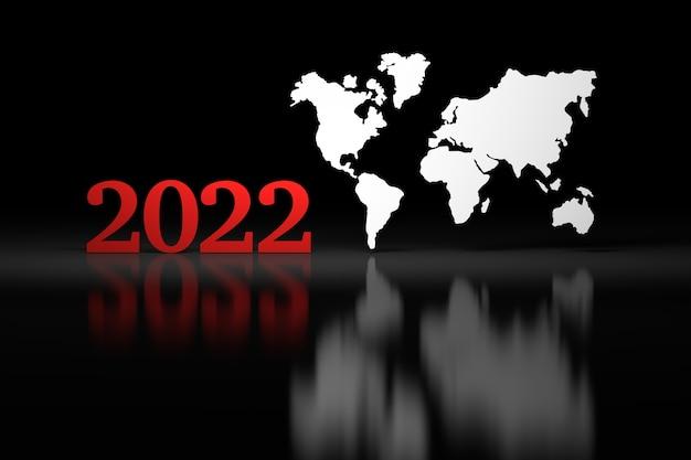 Große kühne rote jahreszahlen 2022 mit großer erdkarte auf schwarzer oberfläche