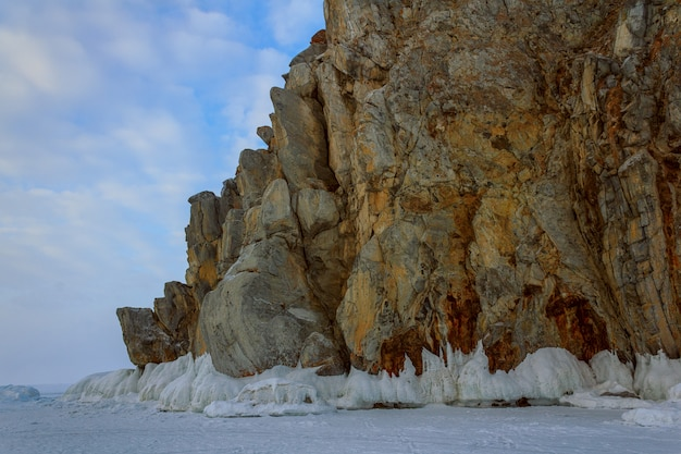 Große landschaft im winter baikal see