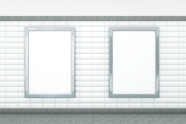 Große leere vertikale poster am u-bahnhof. 3d-rendering
