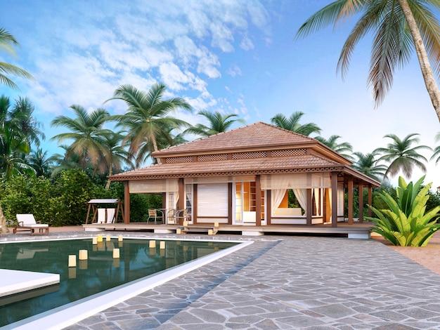 Große luxusbungalows mit pool