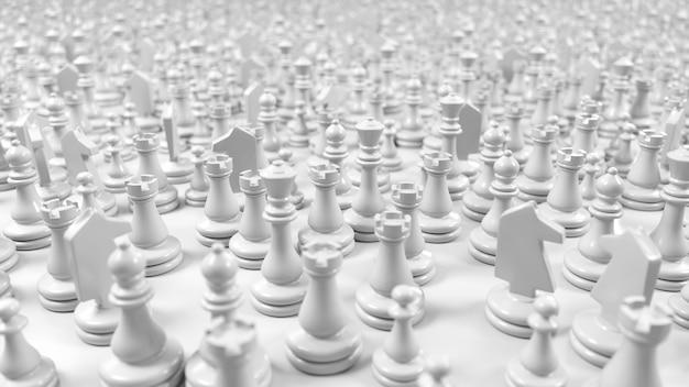 Große menge der weißen schachfiguren in der 3d-illustration