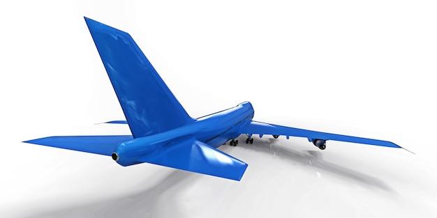 Große passagierflugzeuge mit großer kapazität für lange transatlantikflüge blau auf weißem hintergrund