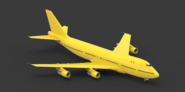 Große passagierflugzeuge mit großer kapazität für lange transatlantikflüge. gelbes flugzeug auf grauem isoliertem hintergrund. 3d-darstellung.