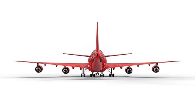 Große passagierflugzeuge mit großer kapazität für lange transatlantikflüge. rotes flugzeug auf weißem hintergrund isoliert. 3d-darstellung.