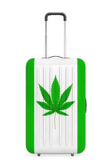 Große reisekoffer aus polycarbonat mit medizinischem marihuana oder cannabis-hanf-blatt-zeichen auf weißem hintergrund. 3d-rendering