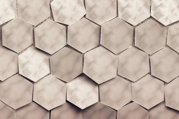 Große sich wiederholende zufällig angeordnete sechsecke. getönt mit braunem farbmuster mit sechsecken 3d.