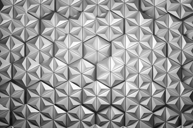 Große strukturierte sechsecke aus pyramiden. zufällig angeordnete sechsecke.
