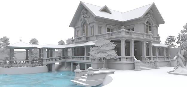 Große villa im asiatischen stil mit garten, pool und tennisplatz. das gebäude und das territorium in konturlinien mit weichen, verstreuten schatten. 3d-illustration