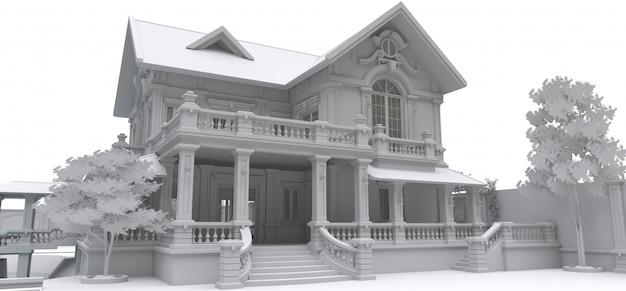 Große villa im asiatischen stil mit garten, pool und tennisplatz. das gebäude und das territorium mit weichen, verstreuten schatten. 3d-illustration.
