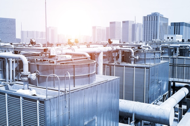 Große zentrale klimaanlage kühllüftersystem pipeline