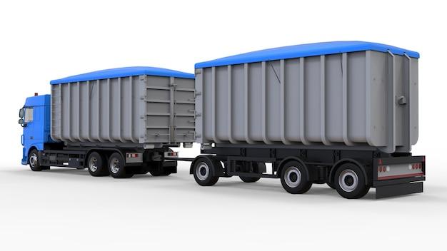 Großer blauer lkw mit separatem anhänger für den transport von schüttgütern und produkten aus landwirtschaft und bauwesen. 3d-rendering.