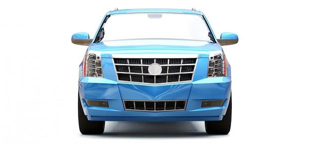 Großer blauer premium-suv auf einem weißen raum. 3d-rendering.