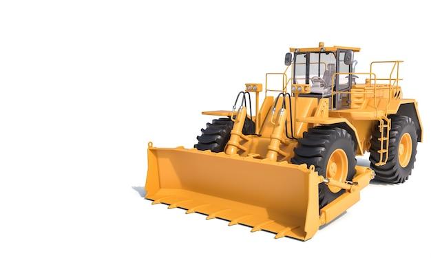 Großer bulldozer auf weißer fläche. 3d rendern