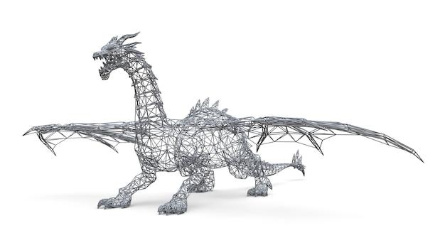 Großer drache steht aus den grund. dreidimensionale darstellung der polygonalen masche auf einem weißen hintergrund