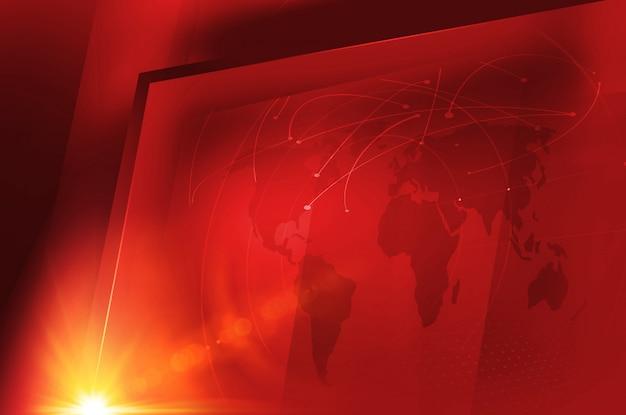 Großer flacher fernsehschirm des studios mit globaler weltkarte