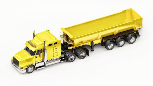 Großer gelber amerikanischer lkw mit einem anhängertyp muldenkipper für den transport von schüttgut auf weißem hintergrund. 3d-darstellung.