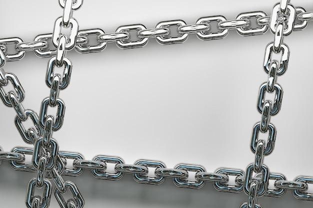 Großer glänzender metallischer silberkettenrahmenhintergrund