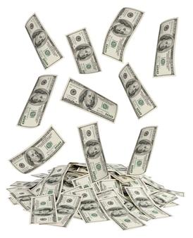 Großer haufen geld. dollar über weißem hintergrund