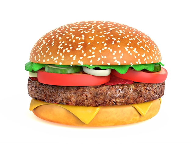 Großer leckerer hamburger isoliert auf weiß