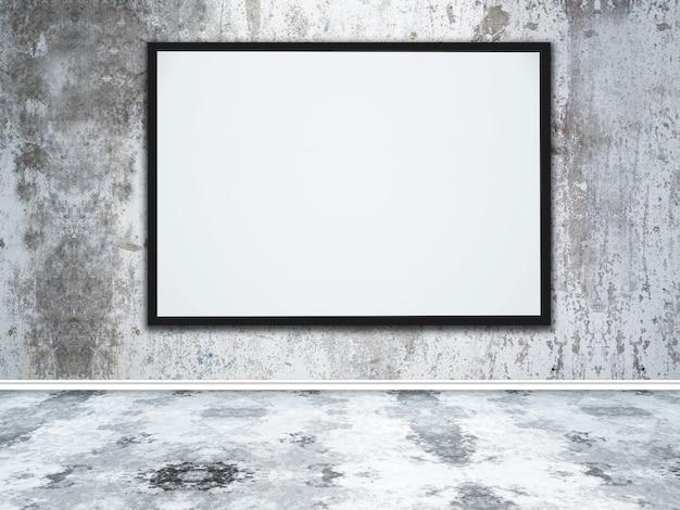 Großer leerer bilderrahmen 3d in einem konkreten innenraum des schmutzes