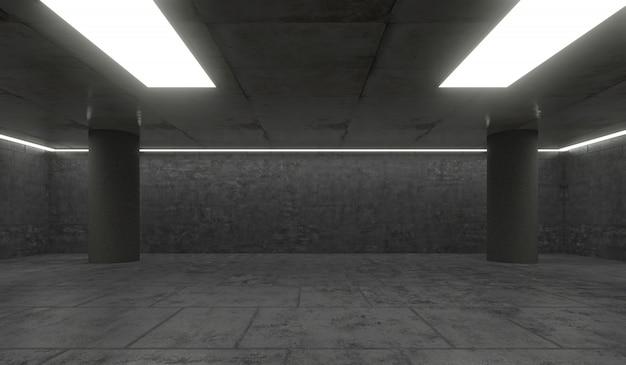 Großer leerer raum mit moderner innenarchitektur und beleuchtung. 3d-rendering