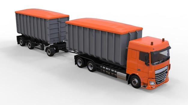 Großer orangefarbener lkw mit separatem anhänger für den transport von landwirtschaftlichen und baulichen schüttgütern und produkten. 3d-rendering.