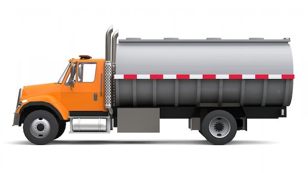 Großer orangefarbener lkw-tanker mit anhänger aus poliertem metall. ansichten von allen seiten