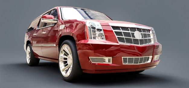 Großer roter erstklassiger suv auf einem grauen hintergrund. 3d-rendering.