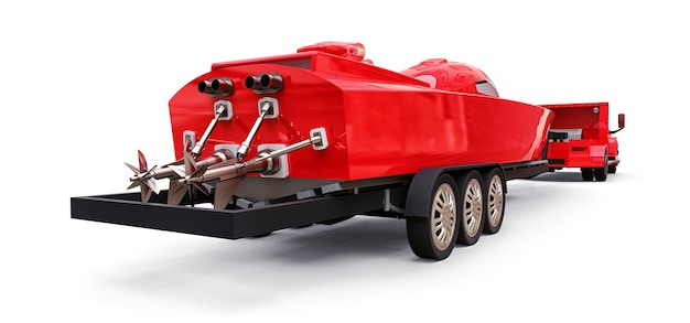 Großer roter lkw mit anhänger für den transport eines rennbootes auf weißem hintergrund. 3d-rendering.