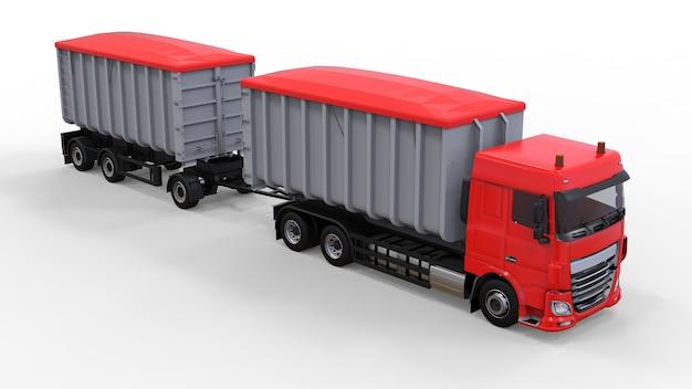 Großer roter lkw mit separatem anhänger für den transport von landwirtschaftlichen und baulichen schüttgütern und produkten. 3d-rendering.