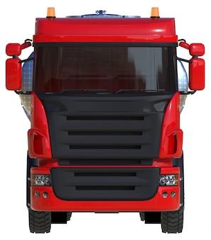 Großer roter lkw-tanker mit einem anhänger aus poliertem metall. ansichten von allen seiten. 3d-rendering.