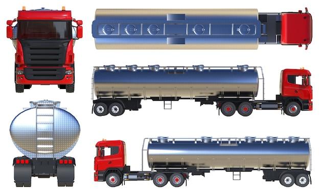 Großer roter tankwagen mit poliertem metallanhänger. ansichten von allen seiten. eine reihe von bildern. 3d-darstellung.