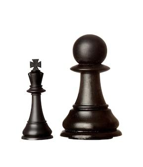 Großer schwarzer bauer und kleiner könig