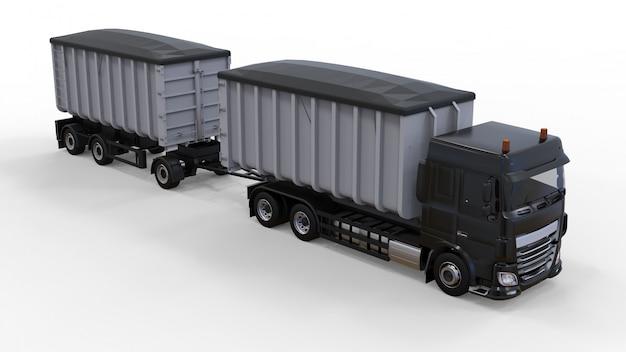 Großer schwarzer lkw mit separatem anhänger für den transport von landwirtschaftlichen und baulichen schüttgütern und produkten