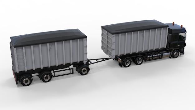 Großer schwarzer lkw mit separatem anhänger für den transport von schüttgütern und produkten aus landwirtschaft und bauwesen. 3d-rendering.