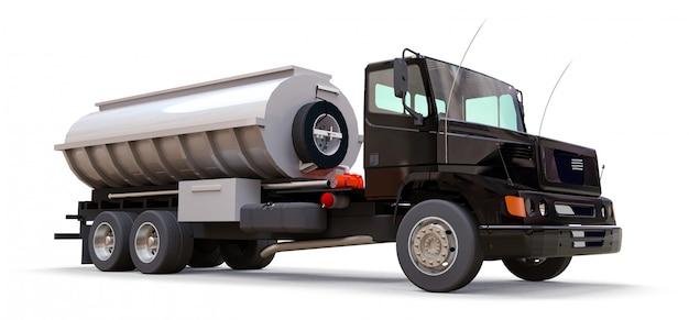 Großer schwarzer lkw-tanker mit poliertem metallanhänger. ansichten von allen seiten. abbildung 3d.