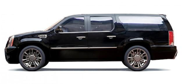 Großer schwarzer premium-suv. 3d-rendering.